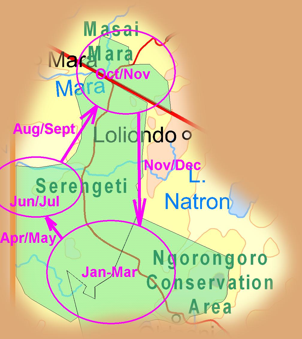 Extract of East Africa Map showing primary migration routes and periods!